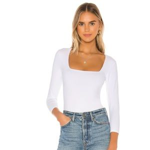 Free People 3/4 Sleeve square thing bodysuit